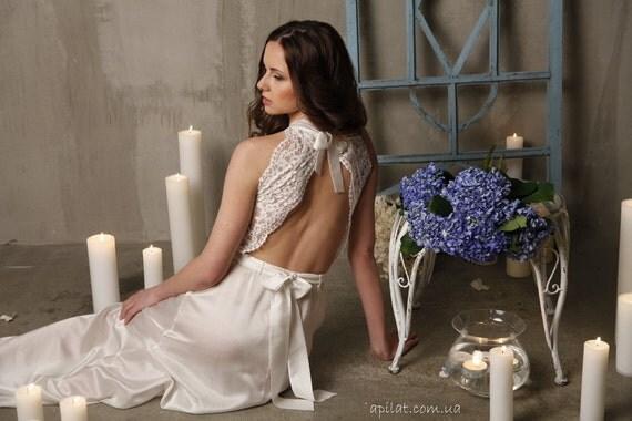 Long Lace Bridal Nightgown With Open Back F5(Lingerie, Nightdress), Ivory Lace Wedding Nightgown (Honeymoon Sleepwear,Wedding Trousseau5