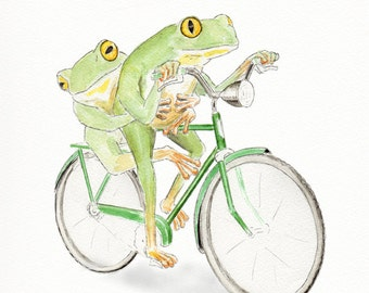 Frogs Riding Bicycle - Whimsical animal art - Humorous Frog Art - Bicycle art