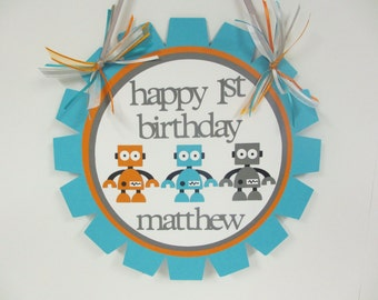 Robot Door Welcome Sign Banner Birthday Party Baby Shower Turquoise Blue Orange Grey