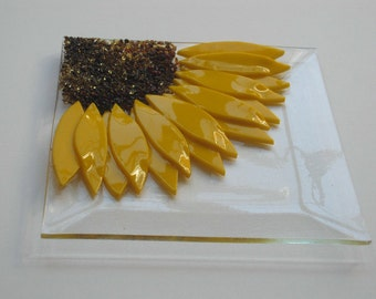 Sunflower Fused Glass Plate