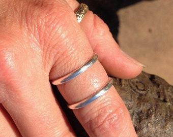 Sterling silver double duty, double band ring