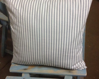 "Pillow cover - 16"" - throw pillows - pillow covers - decorative pillows - ticking pillow - ticking stripe pillow - blue and white pillows"