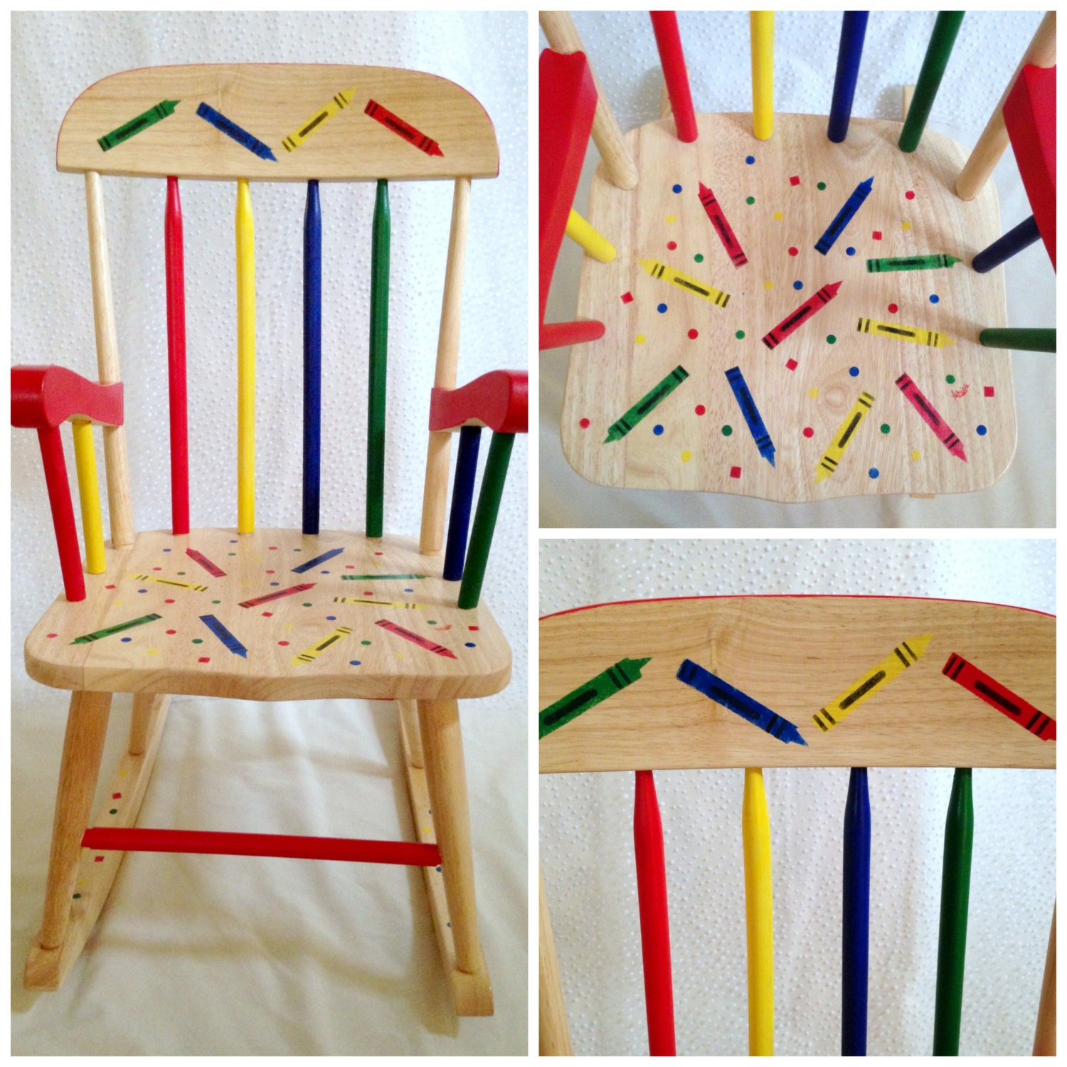 Childrens Rocking Chair Handpainted Colorful
