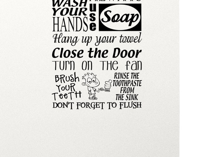 Bathroom rules Wall Decal Vinyl sticker home decor shower door toilet bath towel soap wash your hands brush your teeth toothpaste cartoon