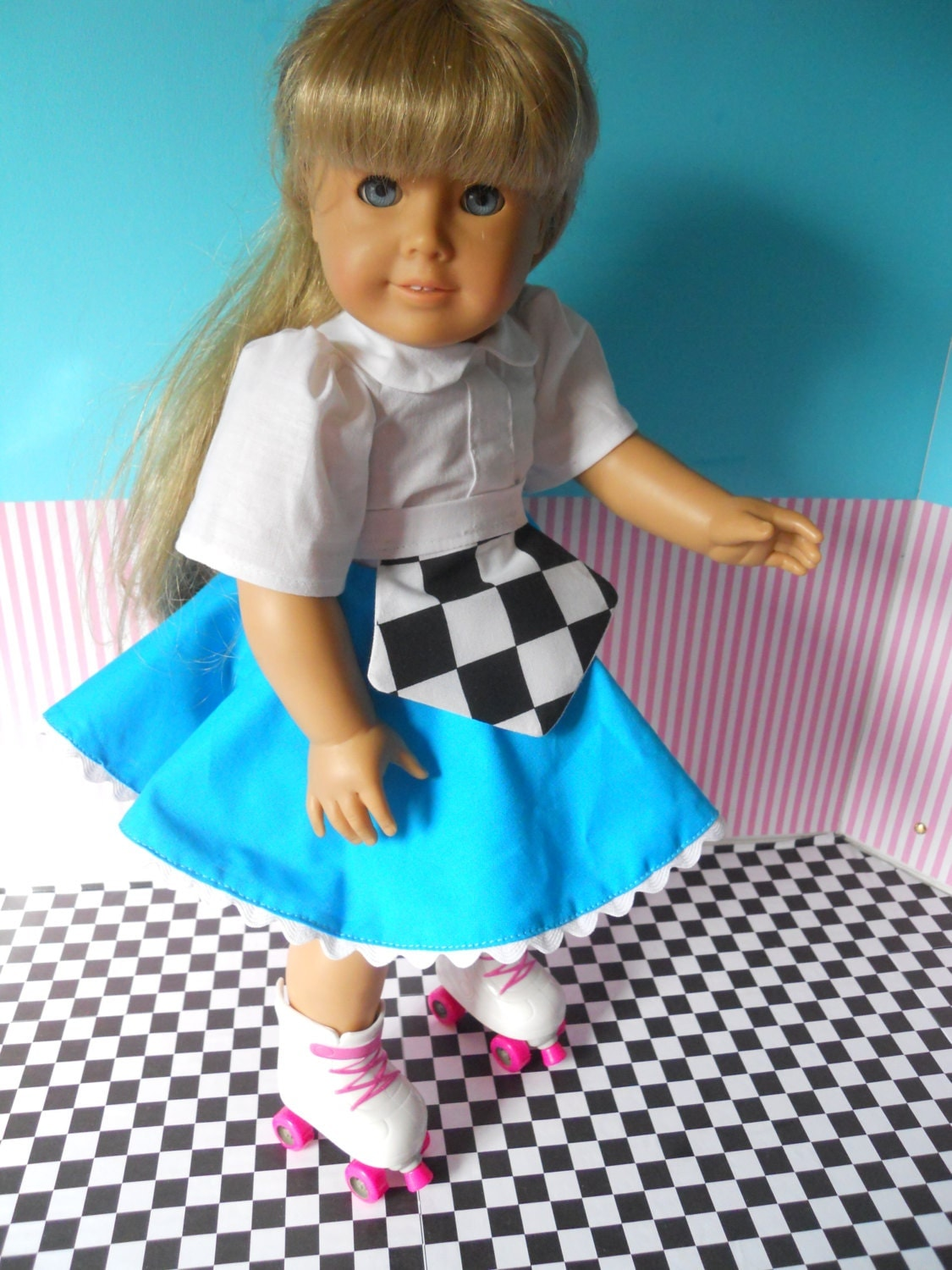 Retro 50s Roller Skating Outfit 18 Inch Doll Clothing