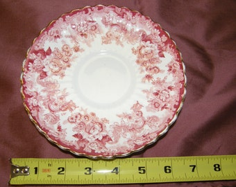 Radfords Victorian Fenton Saucer Bone China Made in England Red Floral Transfer