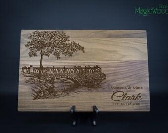 Personalized Cutting Board, Wedding Gift, Anniversary Gift, Housewarming Gift, Custom Laser Engraved Cutting Board, Bridge, Gift Idea.