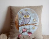 Natur color Linen Hand painted pillow case - Owl in a wood of love - made by order
