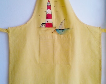 Hand painted apron, yellow apron, Red Lighthouse hand painted, canvas apron, unique apron, unisex apron, painted apron, nautical apron