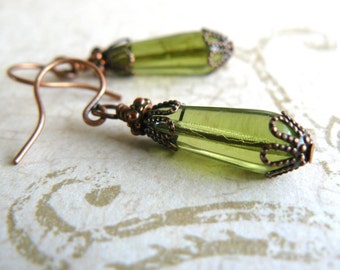Olive Glass Teardrop Earrings Vintage Style Lime Green Dangles Olivine Drop Earrings Romantic Old Fashioned Jewelry with Antique Copper