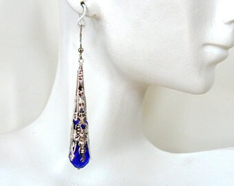Dark Blue and Silver Earrings Cobalt Victorian Inspired Dangles Vintage Style Jewelry Ornate Filigree Bead Cap Long Earrings