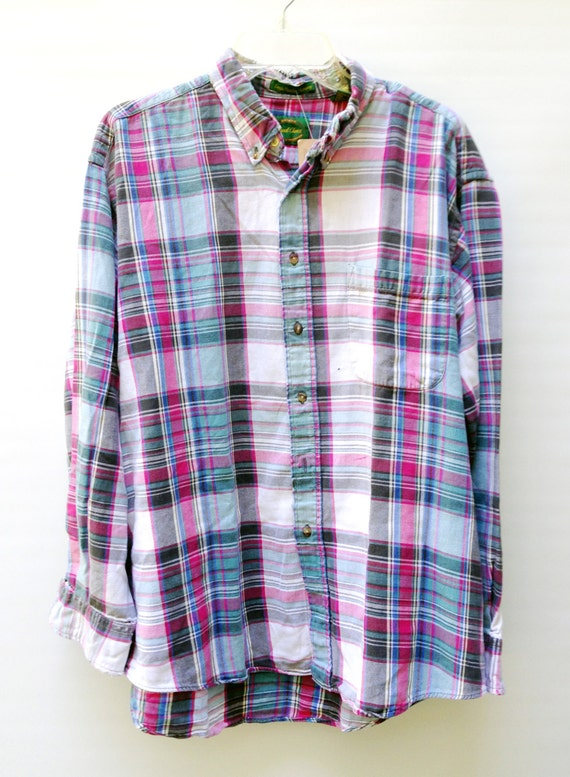 Vtg 90s Grunge Plaid Flannel Shirt Well Worn Super Soft Cotton