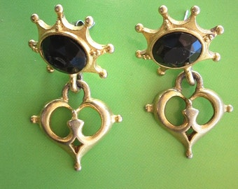 Vintage Catherine Stein Gold and Black Earrings