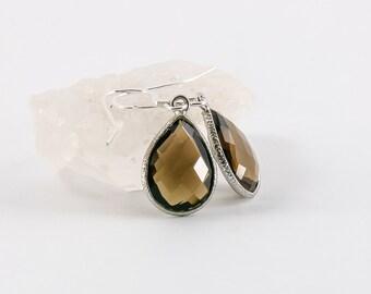 Smokey Quartz Earrings, Pear Shaped Crystal Earrings, Gemstone Earrings.
