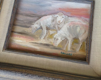 Farmhouse  Decor / Original Oil Painting / Bathroom Decor / Home Decor / Sheep / Lamb / Country Decor / Farmhouse bath / Rustic Decor