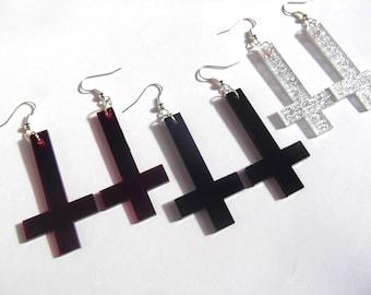Inverted cross earrings in red black or silver