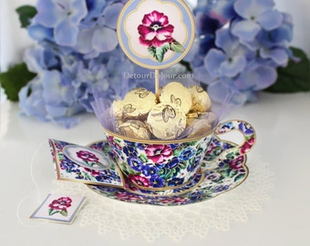 1/2 OFF COUPON Pansy Cupcake Wrappers Printable Tea Party Decorations, Teacup Cupcake Holders, Tea Cup Cupcake Wrappers PTC- 001