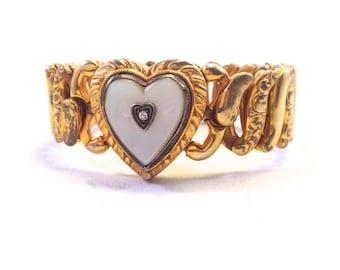 Antique Bracelet -- Sweetheart Bracelet WWII 1940s Mother of Pearl 12k Gold Fill -- Heart Bracelet -- Military Soldier -- Valentine's Day