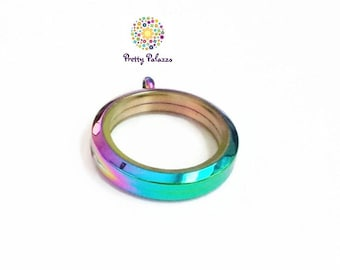 Large Rainbow Floating Locket-30mm-Twist Face-Stainless Steel-Option to Add Chain-Gift Idea