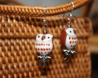 Brown & Cream Ceramic Owl Halloween Earrings