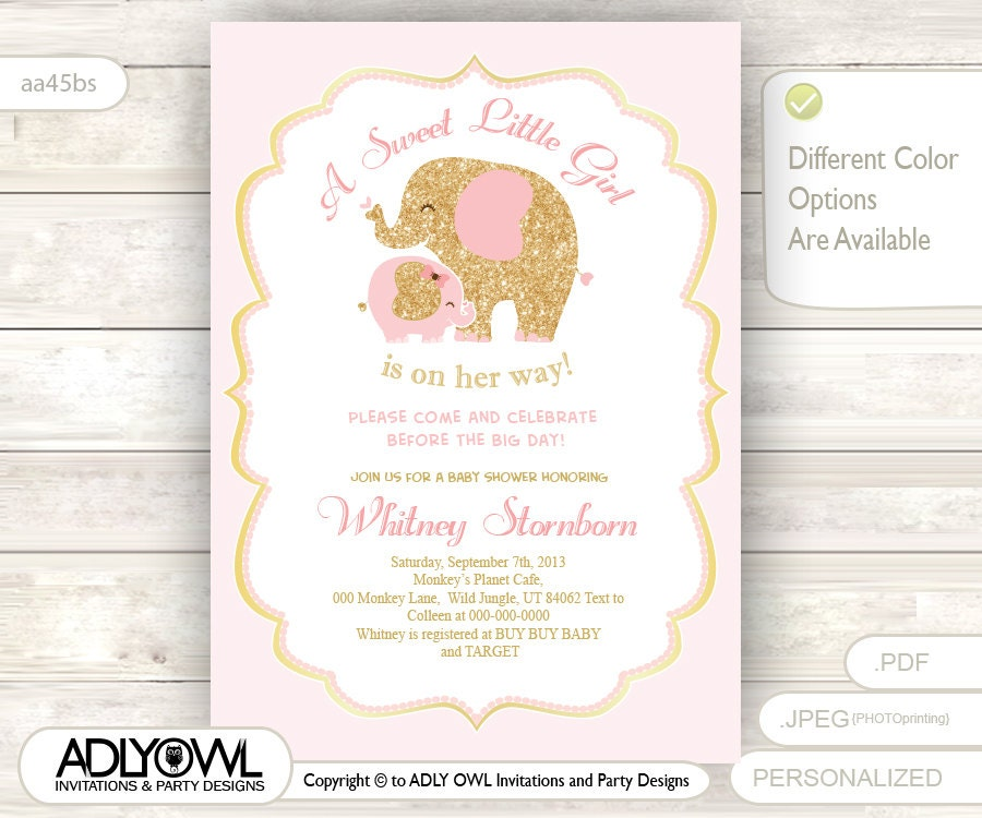 gold pink elephant baby shower invitation card a sweet little