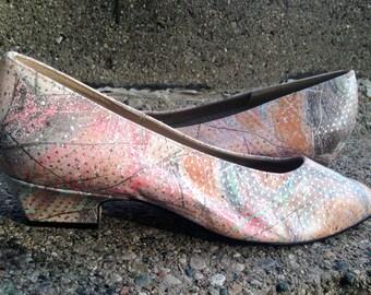 1980's Pastel Splatter Women's Low Heeled Pumps by California Magdesians
