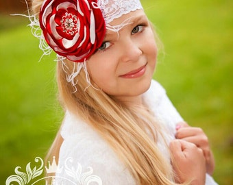 Red and White Satin Singed Flower Headband ~ Baby Toddler Girl Headband ~ Flower Hair Clip ~ Couture Headband ~ Christmas Headband