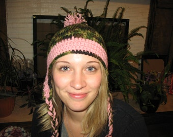 Camouflage / Pink Ear flap Hat