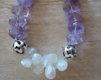 Amethyst and Mystic Quartz Beaded Gemstone Bracelet with Sterling Silver Beads