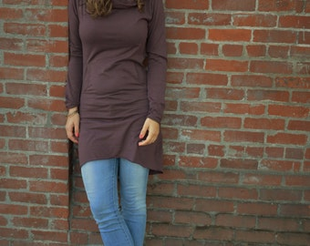 Nomad dress - hooded cowl dress made from 100% organic cotton jersey