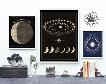 Moon print, Constellation print, Moon Phases Print, astronomy poster, Moon Art Print, Astronomy Art Vintage
