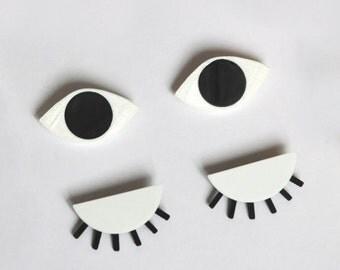 DECLINE of ŒIL, 3D printed eye black brooch