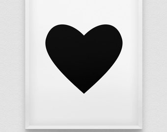 heart print // love print // romantic wall art // red heart print // black heart print // anniversary gift