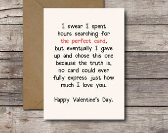 Download THE PERFECT CARD Romantic Valentine's Day Card Printable Valentine for Him or Her I Love You Card Greeting Cards Instant Download