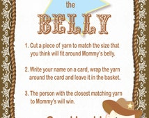INSTANT DOWNLOAD • Measure The Belly Baby Shower Game • Baby Shower Games •  Matching Baby Shower Game s • DIY Cowboy Baby Shower