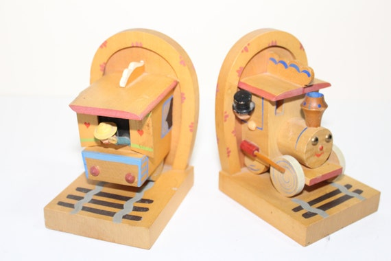 1950's Italian Anri Wood Cho Cho Childs Bookends
