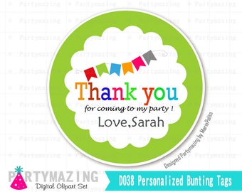 Personalized Thank you Stickers,  Printable Favor Gift Tags, Printable Sticker Labels, Gift Tags, Labels -D038
