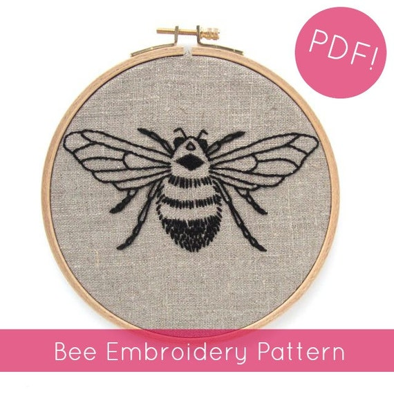 Pdf embroidery pattern bee hand by