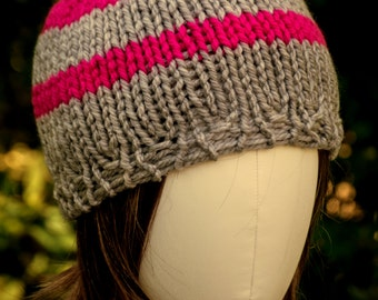 Thick, Warm, Pink & Gray Striped Beanie Hat - Ready to Ship