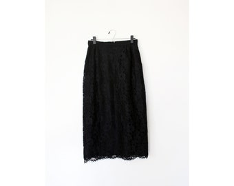Black Lace Midi Pleated Pencil Skirt