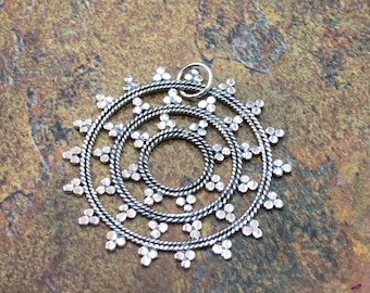 Snowflake Mandala, Snowflake Charm, Earring Components, Filigree Charm, Sterling Silver, Connector,, PS01197