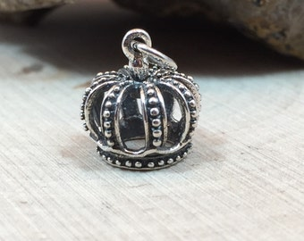 Crown Charm, Sterling Silver Crown Charm, Sterling Silver Charm, Sterling Silver Pendant, 3DCrown Charm, PS01201