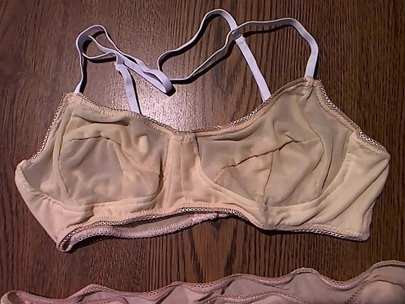 Pale Nude Mesh Bra 30-40 AAA-F cup by SirenQueenBoutique