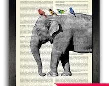Elephant & Exotic Birds Vintage Dictionary Art Print, Elephant Artwork Wall Decor, Elephant Painting, Colourful Bird Art, Animal Wall Decal