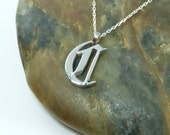 Letter 'C' - Single Letter Necklace - Sterling Silver - Old English Calligraphy, 16-18 inch chain