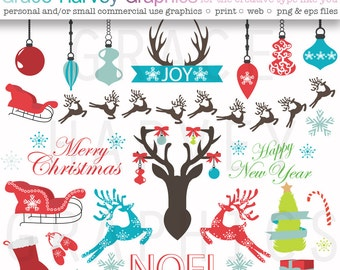 Christmas Holiday Clipart, VECTOR Christmas Clipart, EPS  Original Clipart Package Small Commercial Use