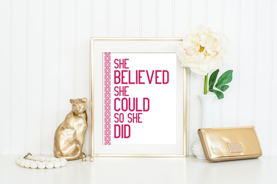 She Believed She Could So She Did Vertical Quote Print