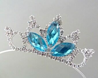 FROZEN ELSA CROWN, Princess crown, Birthday Party Crown, Princess Rhinestone Headband, Elsa Costume,Aqua Tiara,rhinestone Elsa blue Crown