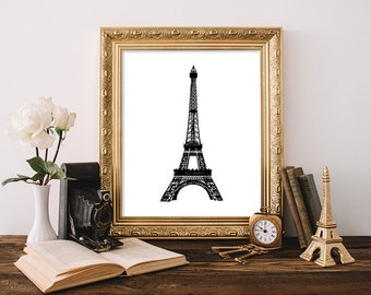 Eiffel Tower Printable, 8x10, Instant Download Eiffel Tower Art Print French Wall Art Paris Wall Art Eiffel Tower Wall Art Black and White