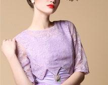 Violet Floral Lace Organza Vintage Downton Abbey Costume Purple Lace Two Piece Bridal Dress Set Princess Diana Lilac Tulle Babydoll Dress